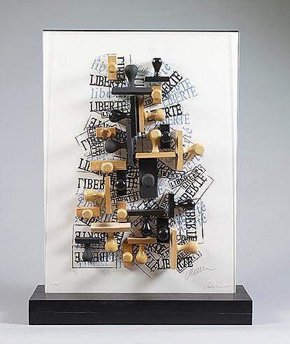 ARMAN (1928-2005) ACCUMULATION, 1991 Accumulation de tampons dans du p