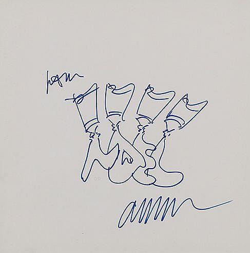 ARMAN (1928-2005) SANS TITRE, 1987 Dessin au feutre bleu Signé 34 x 34