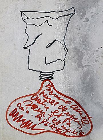 ARMAN (1928-2005) BONNE ANNEE, 1967 Feutre sur plaque d' aluminium Sig