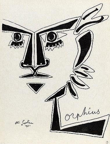 JEAN COCTEAU (1889-1963) ORPHEUS, 1950 Lithographie en noir sur Japon