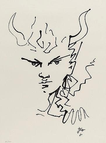 JEAN COCTEAU (1889-1963) JEAN MARAIS EN FAUNE Lithographie en noir sur