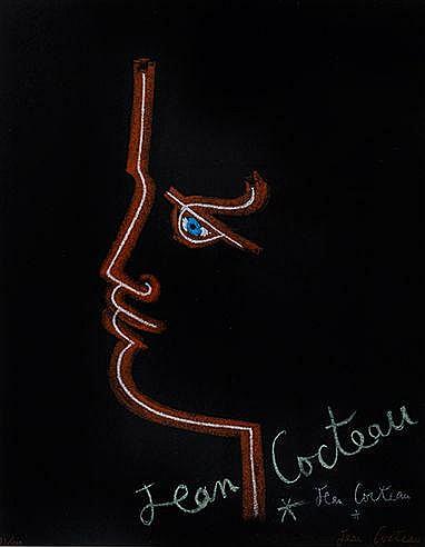 JEAN COCTEAU (1889-1963) TRAIT DE FEU, 1958 Affiche lithographique en