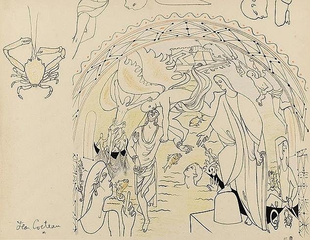 JEAN COCTEAU (1889-1963) ABSIDE-SAINT PIERRE MARCHE SUR LES EAUX, 1958