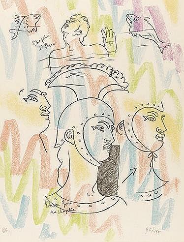 JEAN COCTEAU (1889-1963) ETUDE POUR LA CHAPELLE SAINT PIERRE, 1958 Lit