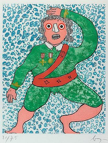 ENRICO BAJ (1924-2003) JOY Lithographie en couleurs Signée et numéroté