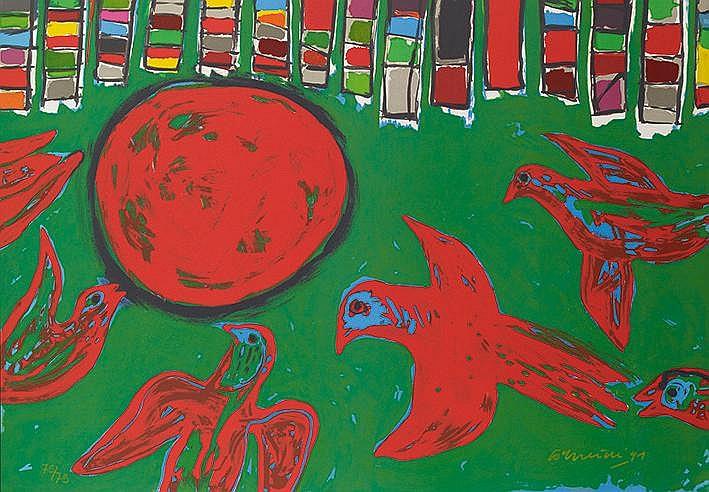 CORNEILLE (GUILLAUME BEVERLOO DIT) (1922-2010) IVRESSE DES OISEAUX, 19
