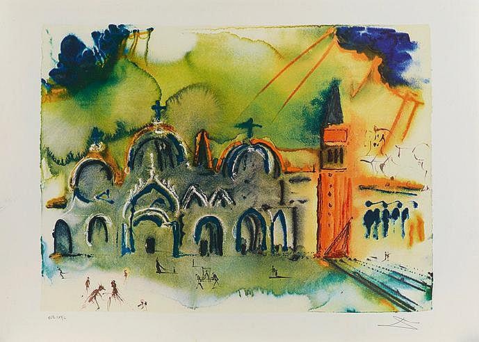 SALVADOR DALI (1904-1989) VENISE (LA BASILIQUE ET LE CAMPANILE), 1978