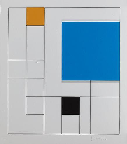 GOTTFRIED HONEGGER (1917-2016) SANS TITRE Lithographie en deux dimensi