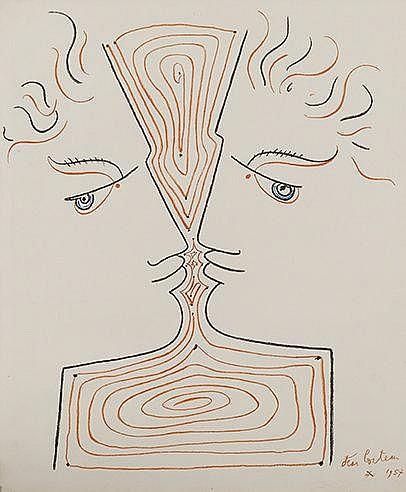 JEAN COCTEAU (1889-1963) PROFILS Lithographie en couleurs sur vélin Si