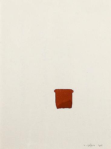 LEE UFAN (NE EN 1936) CARTE DE VŒUX, JANVIER 2001 Gouache sur papier S