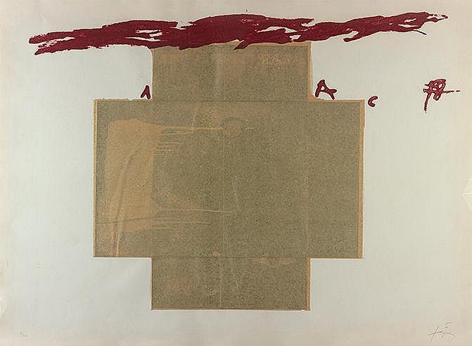 ANTONI TAPIES (NE EN 1923) GRANDE CROIX COLLAGE, 1971 (Galfetti, 604)