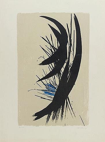 HANS HARTUNG (1904-1989) L 1957-15, 1957 (RMM, 91) Lithographie en cou