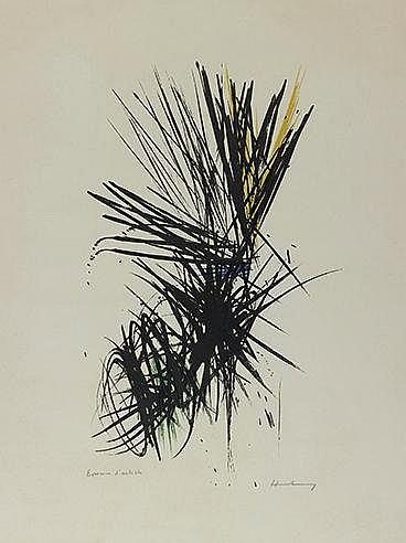 HANS HARTUNG (1904-1989) L 1957-12, 1957 (RMM, 88) Lithographie en cou