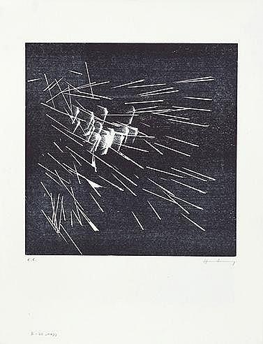HANS HARTUNG (1904-1989) Ensemble de deux œuvres : H 22, 1973 (RMM, 39