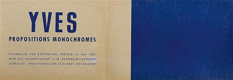 YVES KLEIN (1928-1962) PROPOSITIONS MONOCHROMES, 1957 Carton d'invitat