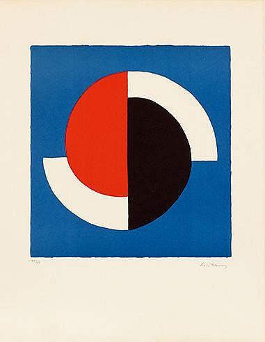 SONIA DELAUNAY (1885-1941) COMPOSITION FOND BLEU, CIRCA 1964 Lithograp