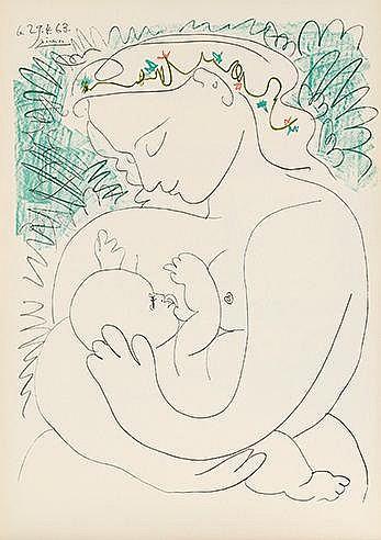 PABLO PICASSO (1881-1973) GRANDE MATERNITE, 1963 Lithographie Signée e