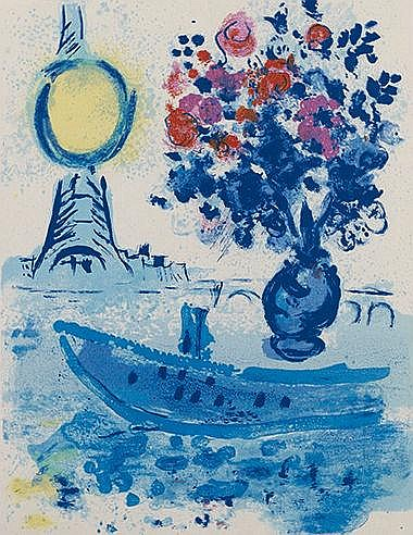 MARC CHAGALL (1887-1985) BATEAU MOUCHE AU BOUQUET, 1963 (Sorlier, 352;