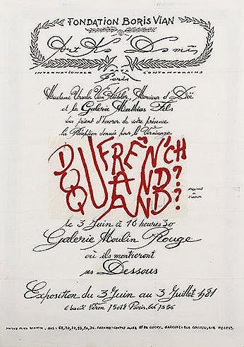 FRANCOIS DUFRENE (1930-1982) QUAND?, 1981 Carton d'invitation pour le