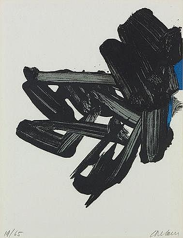 PIERRE SOULAGES (NE EN 1919) LITHOGRAPHIE N°17, 1963 (BNF, 63) Lithogr