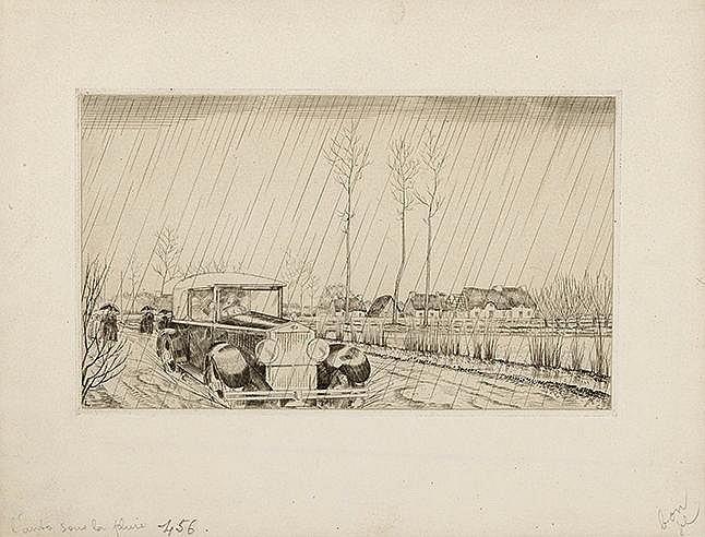 JEAN-EMILE LABOUREUR (1877-1943) L'AUTO SOUS LA PLUIE, 1932 (Laboureur