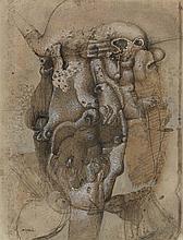 CHRISTIAN D'ORGEIX (NE EN 1927) COMPOSITION Encre, lavis d'encre et gouac