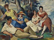Charles KVAPIL (1884-1957) SCENE DE FAMILLE Huile sur carton Signée