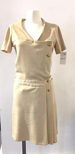 CHANEL HAUTE COUTURE CIRCA 1955/1960 Jersey de Racine Robe de jour en