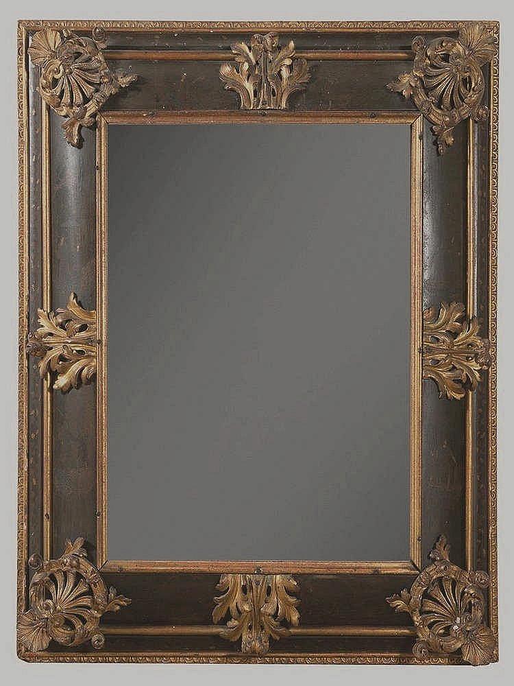 Miroir de forme rectangulaire en bois noirci d cor peint d for Miroir brot paris mirrors