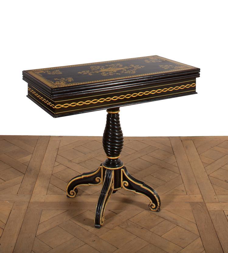 table a jeux de forme rectangulaire en bois relaqu noir d. Black Bedroom Furniture Sets. Home Design Ideas