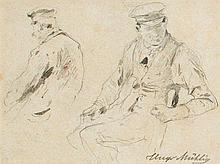 HUGO MÜHLIG (Dresde 1854 – Düsseldorf 1929) Etude d'homme assis de face et
