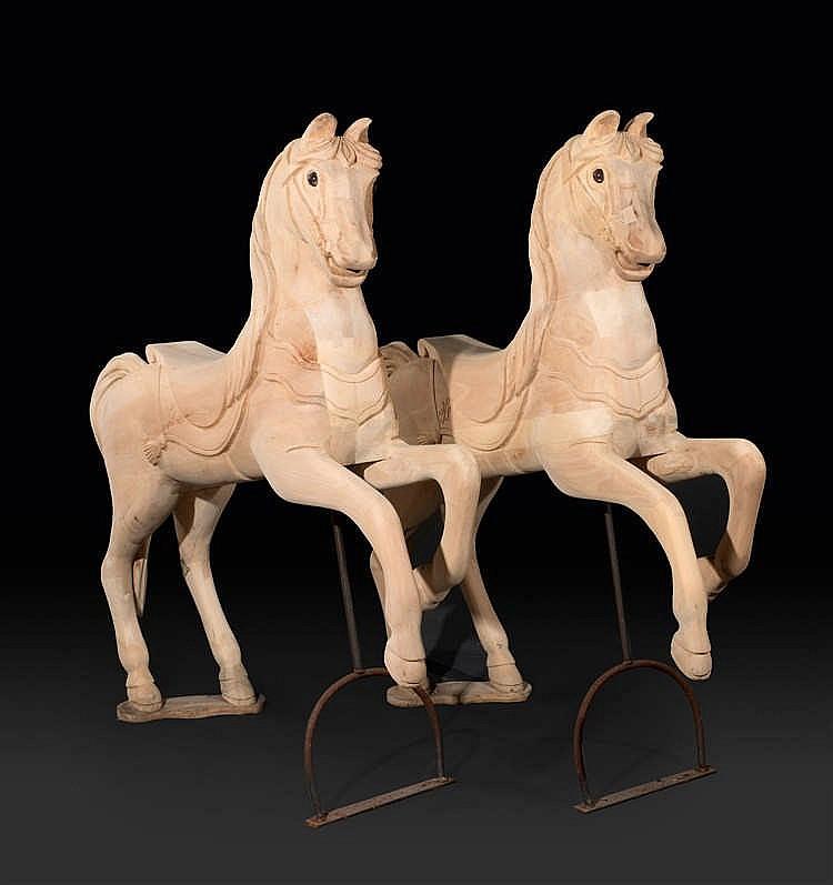 Anonyme Deux chevaux cabrés