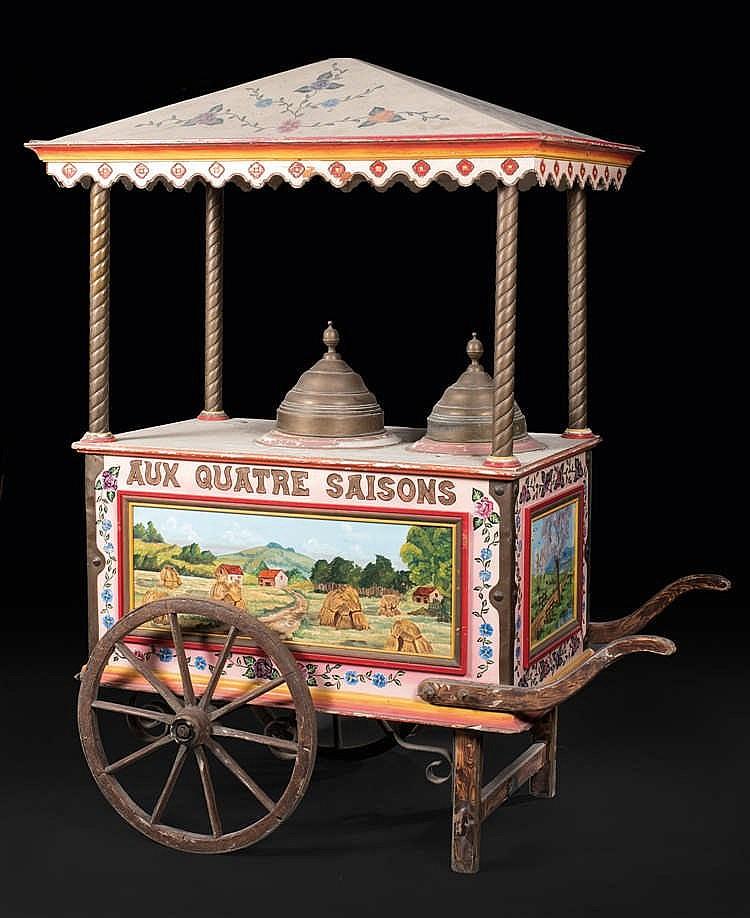 Anonyme Chariot « Aux Quatre Saisons », deux cloches à glaces