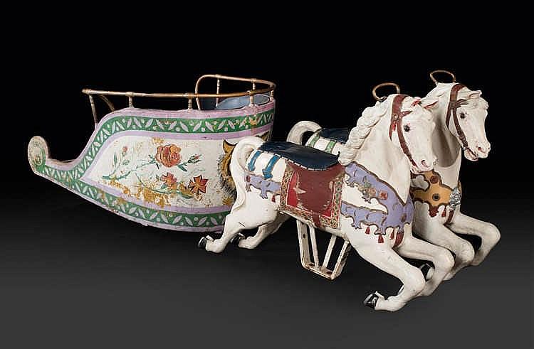Friedrich HEYN et anonyme Deux chevaux galopant et char antique