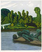JACQUES VILLON (1875-1963)   PAYSAGE D'APRES VALLOTON, 1928