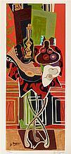 D'APRES GEORGES BRAQUE (1882-1963)   LE GUERIDON ROUGE, 1952