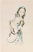 LEONARD TSUGUHARU FOUJITA (1886-1968)    JEUNE FILLE AU CHAT, 1959