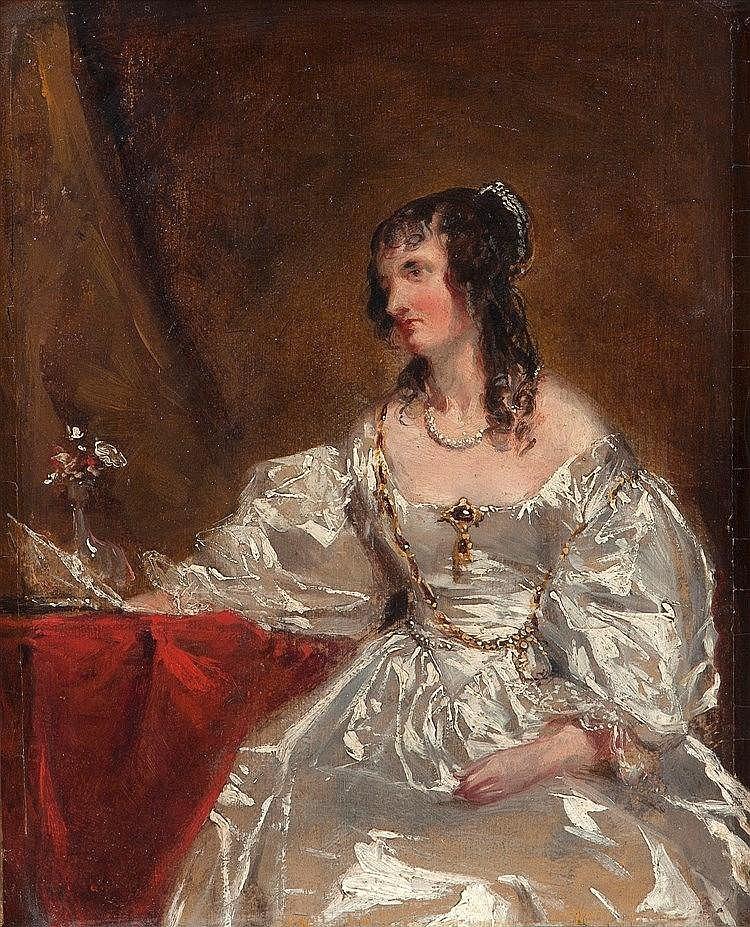 ECOLE ANGLAISE DU DEBUT DU XIXE SIECLE Portrait de femme à la robe ...