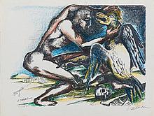 OSSIP ZADKINE (1890-1967)   COMBAT AVEC L'OISEAU DE STYMPHALE, 1960