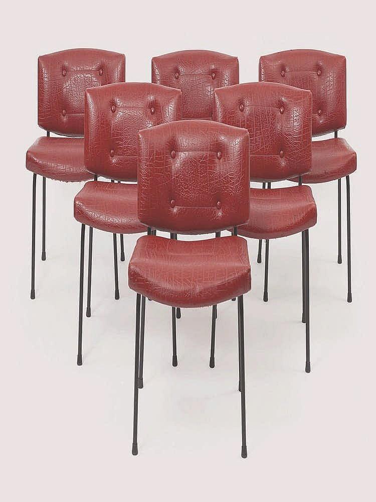 pierre guariche 1926 1995 suite de six chaises conseil. Black Bedroom Furniture Sets. Home Design Ideas