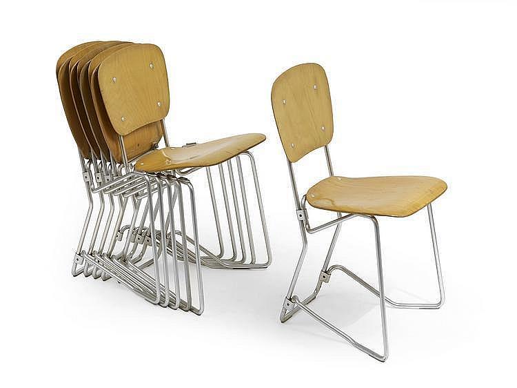 Armin wirth 1903 1992 suite de six chaises pliantes - Chaises de bar pliantes ...