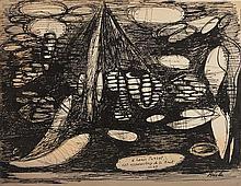 ROGER BRIELLE (1899-1960)  CET APPAREILLAGE DE LA NUIT, 1947  Encre de