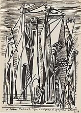 ROGER BRIELLE (1899-1960)  COMPOSITION AUX PERSONNAGES, 1947  Encre de