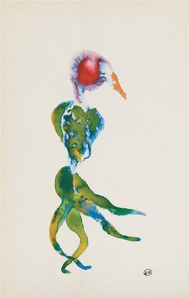 GEORGES HUGNET (1906-1974) HOMME PLANTE Encres de couleurs sur papier