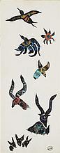 GEORGES HUGNET (1906-1974) OISEAUX ET ANIMAUX Gouache et encre sur pap