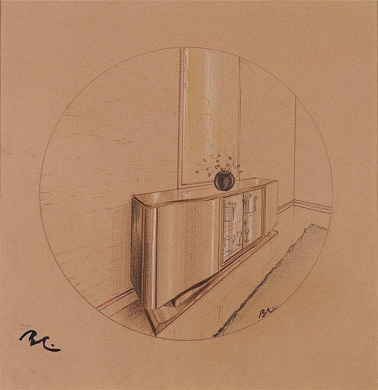 BORIS LACROIX (1902-1984) INTERIEUR Pastel sur papier Monogrammé en ba