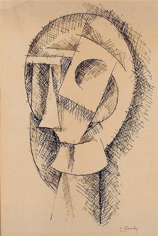 JOSEPH CSAKY (1888-1971)  TETE CUBISTE, CIRCA 1914-1915  Encre sur pap