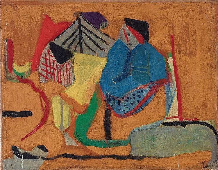 PIERRE TAL-COAT (1905-1985) COMPOSITION Huile sur toile Signée en bas