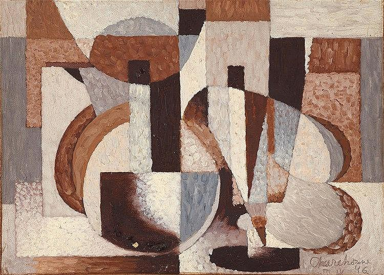 SERGE CHARCHOUNE (1888-1975) COMPOSITION ABSTRAITE, 1946 Huile sur t