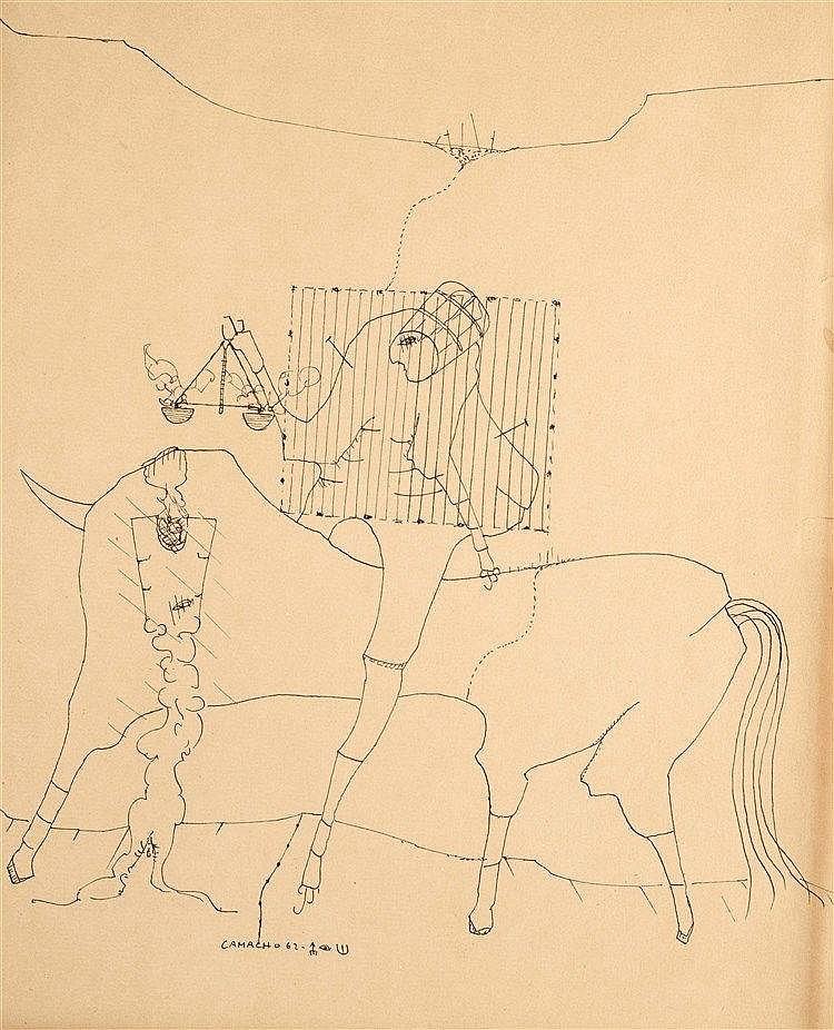 JORGE CAMACHO (1934-2011)  COMPOSITION SURREALISTE, 1962  Encre sur pa